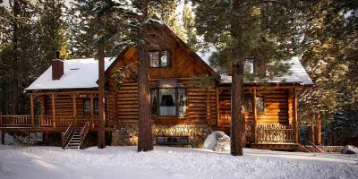 Коттедж, лес, дом, зима