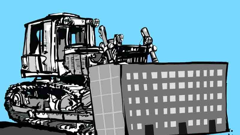 Реновация, трактор, пятиэтажки